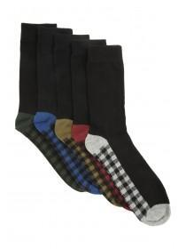 Mens 5PK Black Design Socks