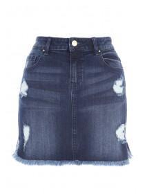Jane Norman Mid Blue Distressed Denim Skirt