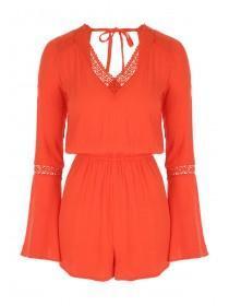 Jane Norman Orange Crochet Trim Playsuit