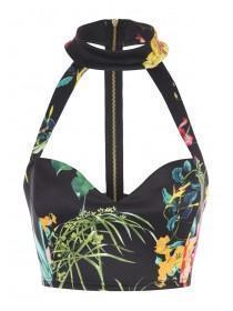 Jane Norman Multi Printed Zip Bralet