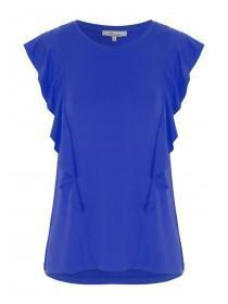 Womens Cobalt Blue Front Frill Vest