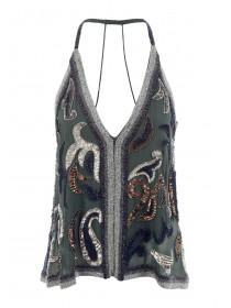 Womens Khaki Beaded Cami