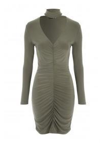 Jane Norman Khaki Ruched Choker Dress