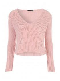 Jane Norman Pale Pink Ladder Detail Crop Jumper
