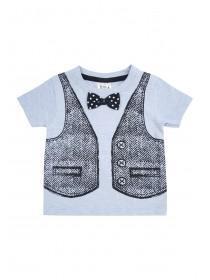 Baby Boys Light Blue Waistcoat & Bow Tie Shirt
