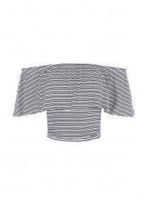 Jane Norman Monochrome Stripe Ruffle Crop Top