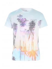 Mens Blue Palm Sunrise Sublimation T-Shirt