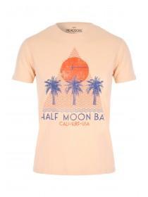 Mens Orange Cali Palm Tree Retro T-Shirt