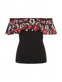 Jane Norman Floral Puff Print Bardot Top