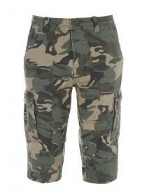 Mens Khaki Camo Three Quarter Cargo Shorts