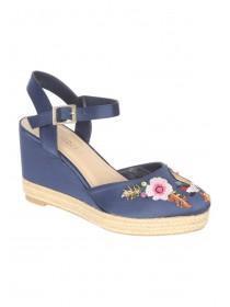Womens Dark Blue Embroidered Wedge Heels