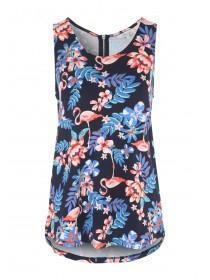 Womens Blue Floral Zip Back Vest