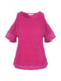 Womens Hot Pink Lace Cold Shoulder Top
