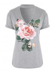 Jane Norman Grey Choker Printed T-Shirt