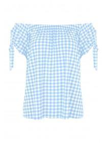 Womens Light Blue Gingham Bardot Top