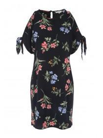 Womens Black Split Sleeve Dress