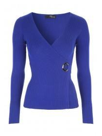 Jane Norman Blue Wrap Eyelet Jumper