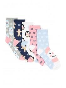 Girls 5pk Festive Socks