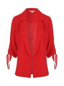 Womens Red Tie Sleeve Jacket