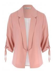 Womens Pale Pink Tie Sleeve Jacket