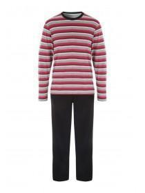 Mens Charcoal Jersey Stripe Pyjamas