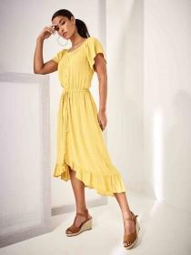 05fe9bf91b4 Womens Mustard Dipped Hem Bardot Dress ...