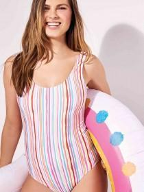 Womens Multicolour Stripe Swimsuit ...