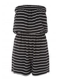 Womens Black Striped Beach Playsuit