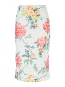 Womens White Printed Skirt