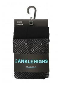 2pk Ankle High Pattern Socks