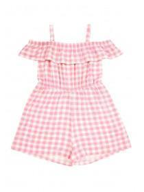 Younger Girls Pink Gingham Playsuit