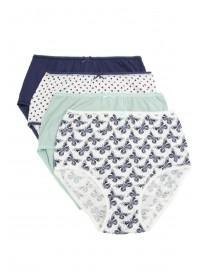 Women's 4PK Light-Blue Printed Full Briefs