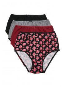 Womens 4PK Red Printed Full Briefs