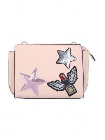 Womens Pink Pressed Patch Crossbody Bag