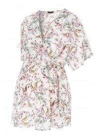 Womens White Floral Maternity Wrap Dress