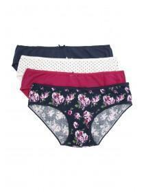 Womens 4PK Blue Printed Mini Briefs
