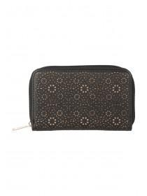 Womens Black Laser Cut Purse
