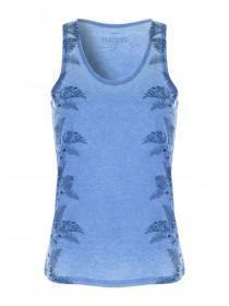 Mens Blue Burnout Leaf Vest