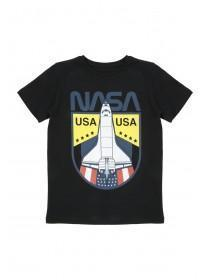 Older Boys Black Nasa Spaceship T-Shirt