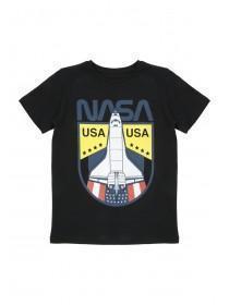 Older Boys Black Nasa Spaceship T-Shirt