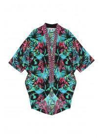 Older Girls Tropical Printed Embellished Kimono