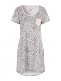 Womens Grey Leopard Print Nightshirt