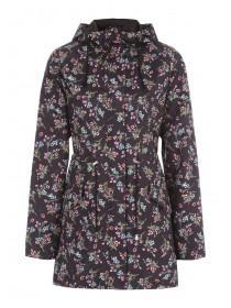 Womens Black Floral Glam-A-Mac Jacket