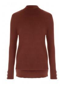 Womens Rust Turtle Neck Jumper