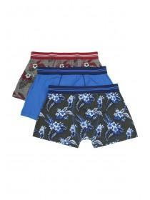 Mens 3PK Blue Floral Stretch Hipster Trunks