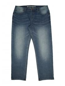 Mens Mid Blue Wash Straight Leg Jeans