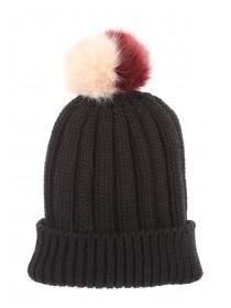 Womens Black Two-Tone Pom-Pom Beanie