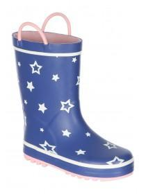 Younger Girls Dark Blue Stars Handles Welly Boots
