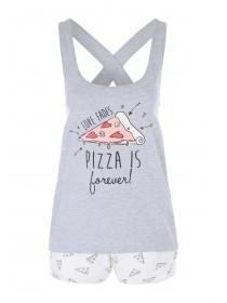 Womens Grey Pizza Novelty Top & Shorts Pyjamas