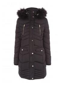 Womens Black Long line Padded Coat